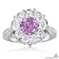 Brilliantly Faceted Round Pink Sapphire and Diamond Open Lace Gemstone Ring
