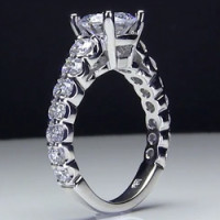 Shared Prong Antique Style Engagement Ring with Large Graduated Diamonds