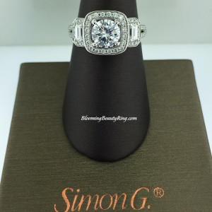 Simon G 3 Stone Diamond Halo Engagement Ring – RCC