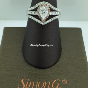 Simon G Artistic 3 Band Pear White and Pink Diamond Ring – MR1655