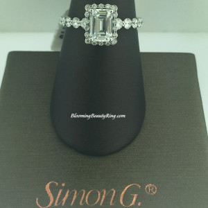 Simon G Contemporary Emerald Halo Engagement Ring – MR2088