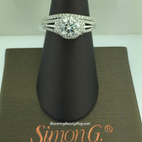Simon G Diamond Hoop to Halo Wedding Ring Set - NR434