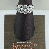 Simon G Double Band Kite Diamond Crossover Wedding Ring - TR175