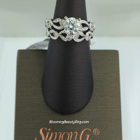 Simon G Duchess Floral Inspired Diamond Engagement Ring Set - TR473