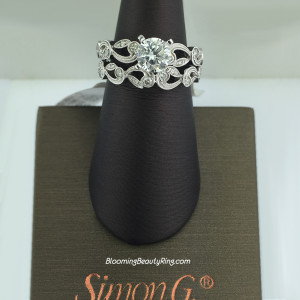 Simon G Duchess Floral Inspired Diamond Engagement Ring Set – TR473