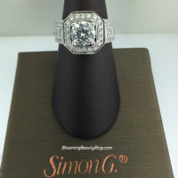 Simon G Passion Octagonal Halo Bridal Ring - NR109