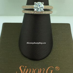Simon G Pave Bridal Set with White and Pink Diamonds – LP1846-D