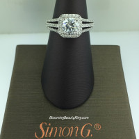 Simon G Rounded Edge Tri-Shank Halo Engagement Ring - MR1904