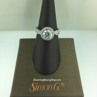 Simon G Twisted Diamond Halo Engagement Ring - MR2133
