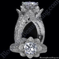 Small Hand Engraved Blooming Beauty Engagement Rose Ring<br>$3700