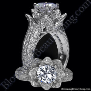 1.37 ctw. Small Hand Engraved Blooming Beauty Engagement Ring – bbr434en-s