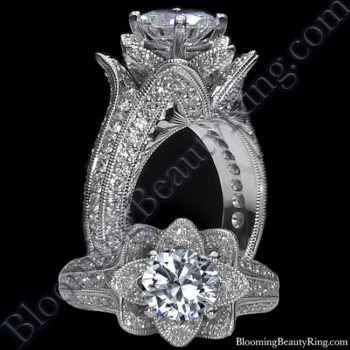 Small Hand Engraved Blooming Beauty Engagement Rose Ring<br>$3800