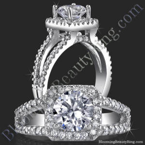 Square Halo Split Shank 62 Diamond Micro Pave Set Engagement Ring – bbr423