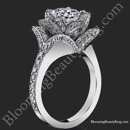 The Crimson Rose 1.58 ctw. Rose Cut Flower Diamond Engagement Ring