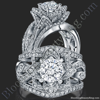 The Large Lotus Swan Double Band Flower Ring Set - bbr626-1