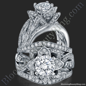 The Original Lotus Swan Double Band Flower Ring Set - bbr630-1
