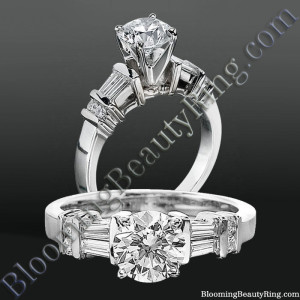 Tiffany Style Engagement Ring with Tapered Baguette and Small Round Side Accent Diamonds – bbrnw6010