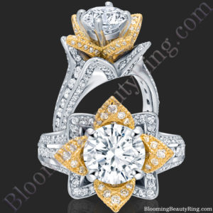 Two Toned Yellow Gold and White Blooming Beauty Flower Ring