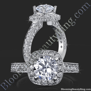Unique Slant Top Diamond Halo Engagement Ring – bbr441