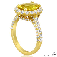 Very Fine Oval Cut Yellow Sapphire and Diamond Engagement Ring - jtr187