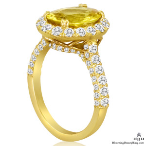 Very Fine Oval Cut Yellow Sapphire and Diamond Engagement Ring – jtr187