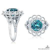 Vivid Blue African Zircon in a Signature Open Lace Designer Gemstone and Diamond Ring
