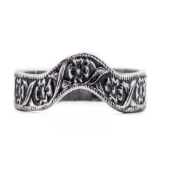 wb018bbr | Antique Filigree Wedding Band | Heavily Engraved | Floral Band