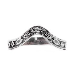 wb021bbr | Antique Filigree Wedding Band | Curved | Engraved | Flowers and Ovals
