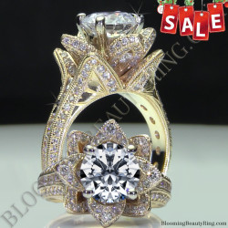 Sale of the Day! Hand Engraved Yellow Gold Large Blooming Beauty Flower Ring