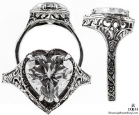 h001bbr | Antique Filigree Ring | for a 2.95ct to 3.05ct heart stone | Floral Band