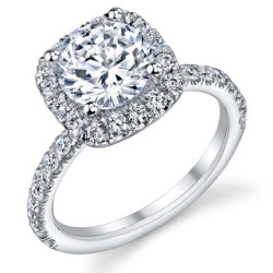 Petite Square Halo Round Shared Prong Set Diamond Engagement Ring<br>$2400
