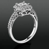 Princess Halo with Shared Pronged Round Diamonds Low Profile Setting