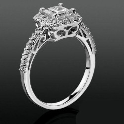 Princess Halo with Shared Pronged Round Diamonds Low Profile Setting<br>$1800