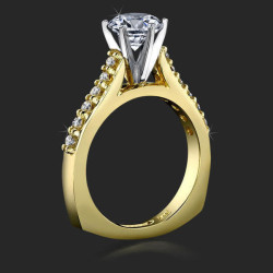 Raised Step Prong Round Diamond Engagement Ring with Flat Rounded Bottom Band