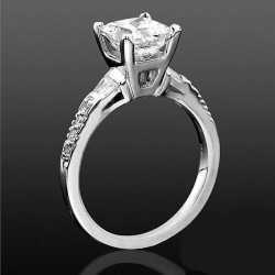 Round Pave and Channel Set Baguette Diamond Engagement Ring<br>$1950