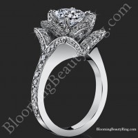 Beautiful Petra 1.58 ctw. Rose Flower Diamond Engagement Ring<br>$3500