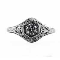 128bbr | Antique Filigree Ring | for a .30ct to .40ct round stone | Scrolls<br>$636