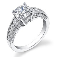 Vintage Inspired Half Circle Tapered Diamond Engagement Ring