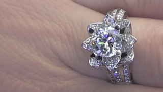 1.37 ct. Small Blooming Beauty Flower Ring on the Finger Video