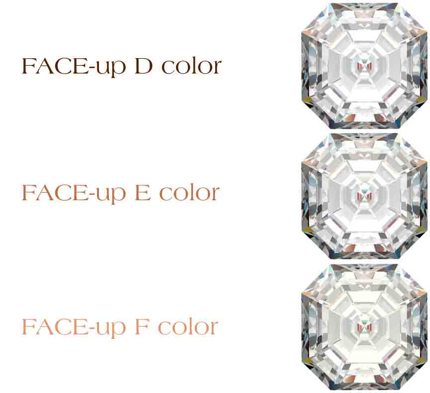 You'll be hard-pressed to see a difference in color when looking at these particular diamonds face-up.