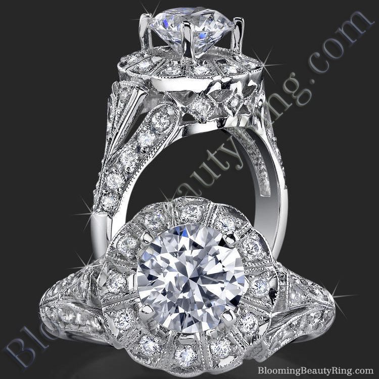 Antique Style Fanned Diamond Halo Engagement Ring