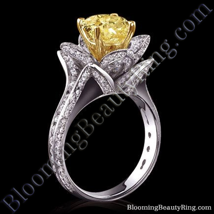 Yellow Head Canary Diamond Flower Ring