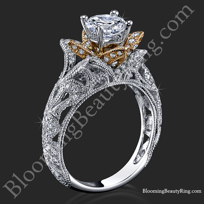Art Carved Blooming Rose Flower Engagement Ring with Rose Gold Petals – bbr611