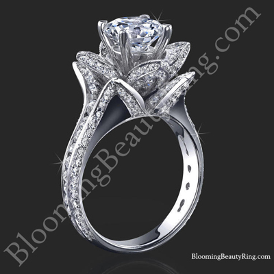 1.37 ctw. Small Blooming Beauty Flower Engagement Ring