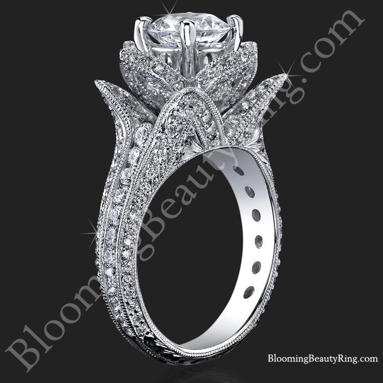 hand engraved blooming beauty flower ring - Beautiful Wedding Rings