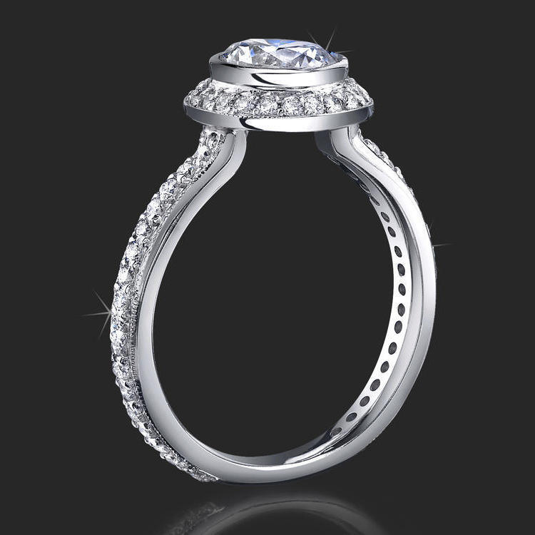 affordable halo engagement ring with bezel set and