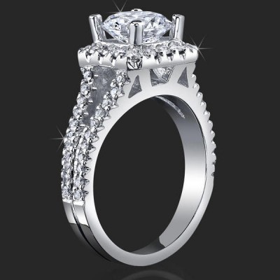 .60 ctw. 60 Diamond Split Shank Short Halo Engagement Ring - bbr502