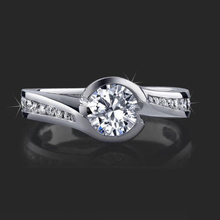 Spiral Wrap Deep Set Pave And Bezel Round Diamond Engagement Ring Bbr433