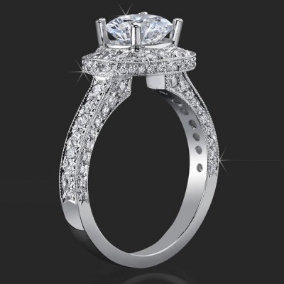 .75 ctw. Halo and Millegrain Micro Pave 4 Prong Engagement Ring - bbr441