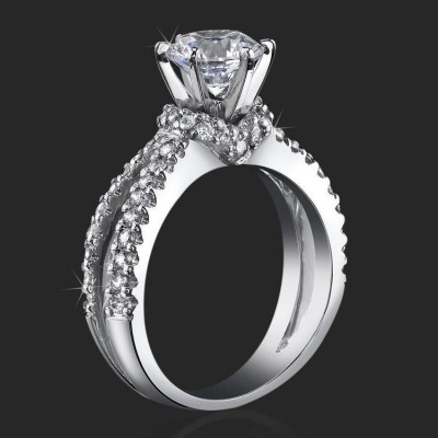 engagement ring 75 ctw warm and embracing split shank sea of diamonds bbr438 - Wedding Ring Vs Engagement Ring